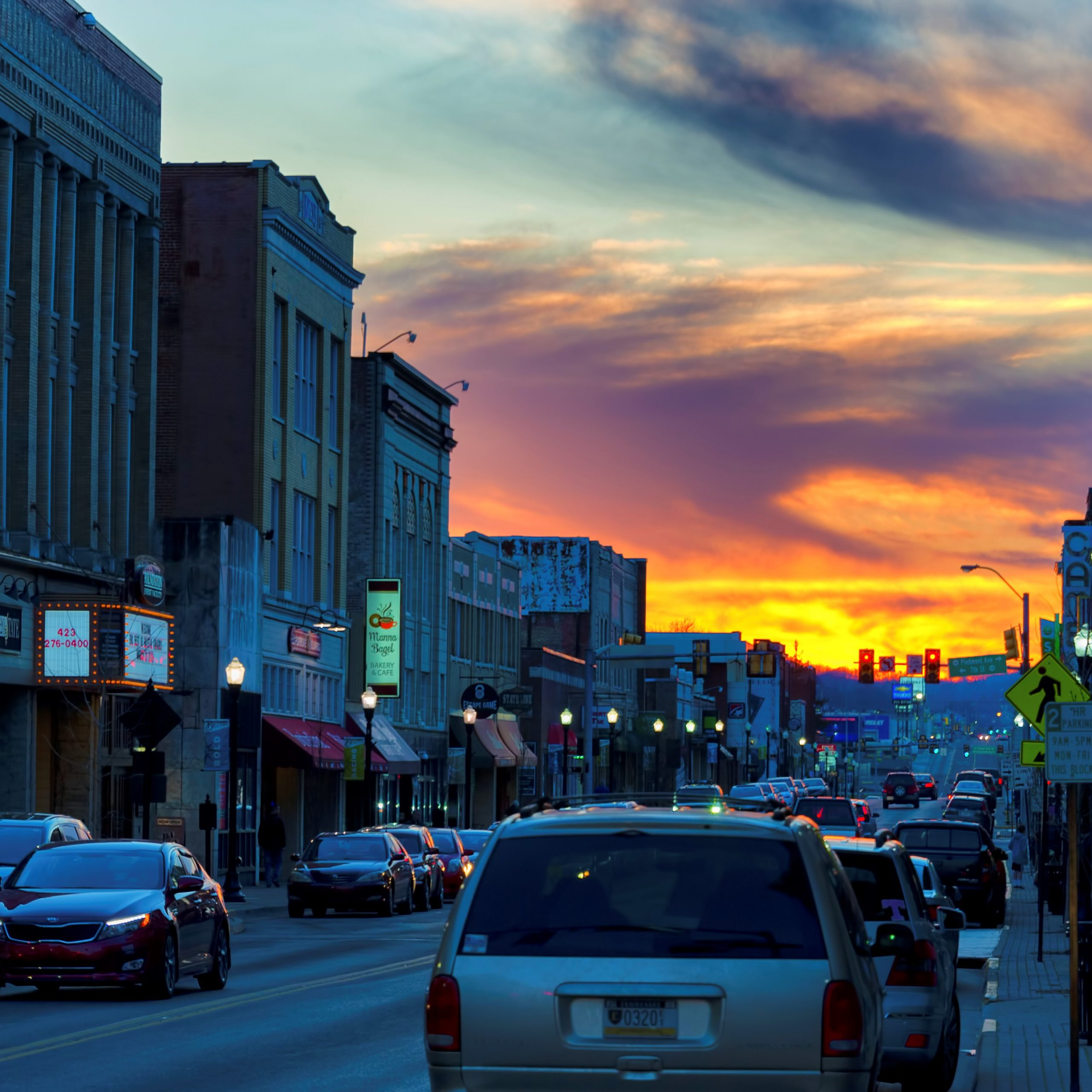 State Street In Bristol at dusk with colorful sunset skies.